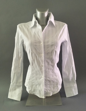 Classic Style Stretchy Blouse with Vertical Textured Stripes