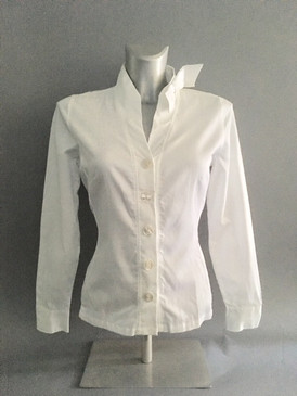 Pindot Blouse in White with Side Bow on Stand Up Collar