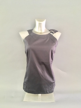 Sleeveless Blouse with Silver Hardware on Shoulder