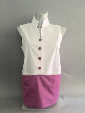 Color Block Blouse with Front Pockets