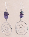 Sterling Silver Swirl Earrings with Amethyst