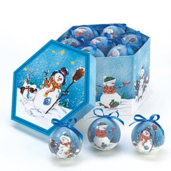 BLUE SNOWMAN ORNAMENT BOX SET