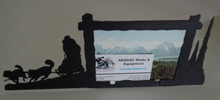 """Metal photo frame measures 11"""" x 4"""" and holds a 4"""" x 5"""" photo nicely."""