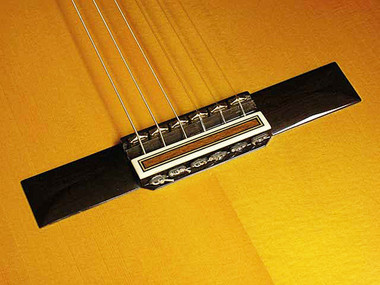 RMC AGT 14-6 [tall] Saddle Set Installed on bridge of traditional Classical Guitar