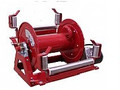 "Steel Eagle Fire Division 12"" Powder‐Coat Painted Steel Frame Hand Crank Hose Reel - 1/2"" Plumbing"