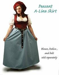 Peasant A-Line Skirt in Woad Blue