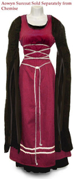 Aowyn Surcoat in Burgundy worn with an Aowyn Chemise