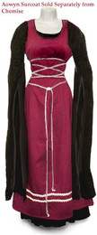 Aowyn Surcoat in Burgundy worn with an Aowyn Chemise