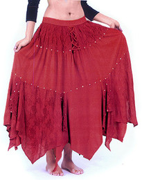 Rayon Skirt w Ribbons in red