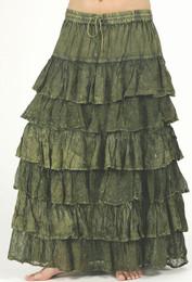 Rayon Ruffle Skirt in Green