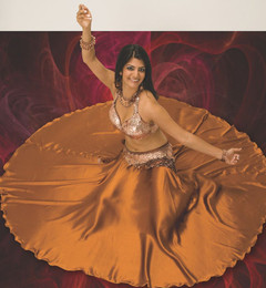 Satin Full-Circle Dance Skirt in Copper