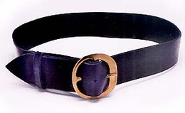 Black leather with a brass buckle