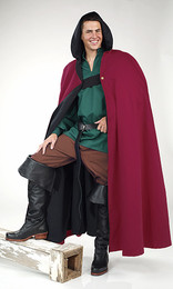 Long Cloak with Hood-Burgundy