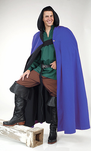 Long Cloak with Hood-Majestic Blue