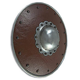 Leather Covered Buckler, Scalloped Boss, 14G
