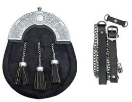 Sporran with Celtic Knotwork Plate, Black