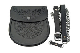Celtic Knotwork Embossed Pouch/Sporran, Black
