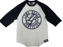 """LB CERTIFIED CURSIVE BASE BALL 3/4 SLEEVE 6 oz. 100% cotton tubular jersey.* Double-needle sleeve opening and curved bottom. Preshrunk to minimize shrinkage. Body Width: S=18"""", M=20"""", L=22"""", XL=24"""", 2XL=26"""