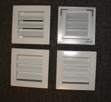 "2"" Deep  Fixed Aluminum Louver 6""x6""White Powder Coat"