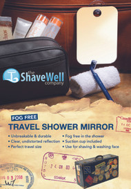 The Shave Well Company Fog Free Travel Mirror - Suction Cup Included - Now shave in the shower at the gym or while traveling away from home