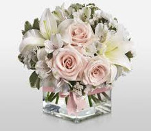 Pink and White Foral Arrangement with vase