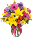 Purple, Pink, Yellow Floral Arrangement