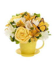 Fresh Floral Mix with ceramic cup and saucer