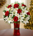 Fresh Christmas Floral Mix with red vase decor