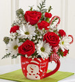 Fresh Floral Mix in Christmas Mug
