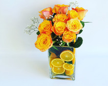 Fresh Fruit and Flower Arrangement