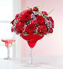Fresh Floral Mix in Margarita Glass