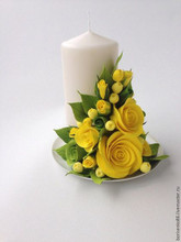 Fresh Floral Arrangement with Candle