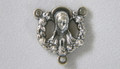 Madonna with Floral Border Silver Rosary Center