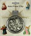 St Christopher Round Pewter Visor Clip