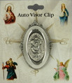 St Christopher Oval Pewter Visor Clip