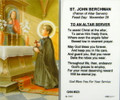 St John Berchman To An Altar Server Laminated Holy Card