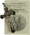 "St Benedict 2"" Black Enamel Crucifix Pendant with Card"