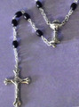 Black wood bead First Holy Communion rosary