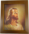 Head of Christ Walnut with Gold Lip Frame