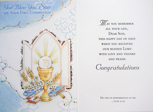 God Bless You Son First Communion Greeting Card Our Daily Bread