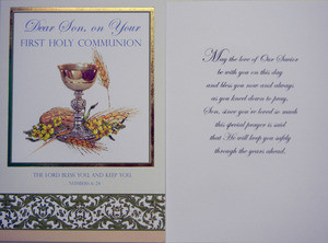 Dear Son On Your First Holy Communion Greeting Card Our Daily