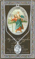 "St Christopher Pewter Medal 18"" Chain with Leaflet"