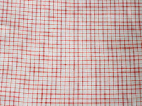 White/Red Windowpane Linen