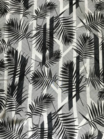 Ecru/Black Palm Leaves Rayon Crepe