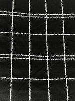 Black/White Windowpane Stretch Cotton Sateen