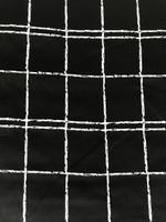 Black/White Windowpane Stretch Cotton Sateen