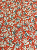 Poppy Red Hummingbird Rayon Jacquard