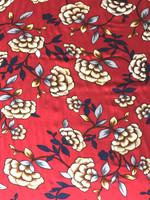 Jasper Red Floral Print Rayon Challis