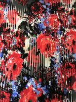 Floral/Stripe Rayon Matte Jersey Knit