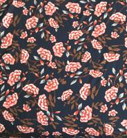 Navy Floral Print Rayon Challis